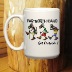 "Far-North Idaho  ""Kokopelli Hiker Buds"" Mug"